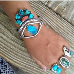 Old pawn Sterling Turquoise coral cluster cuff